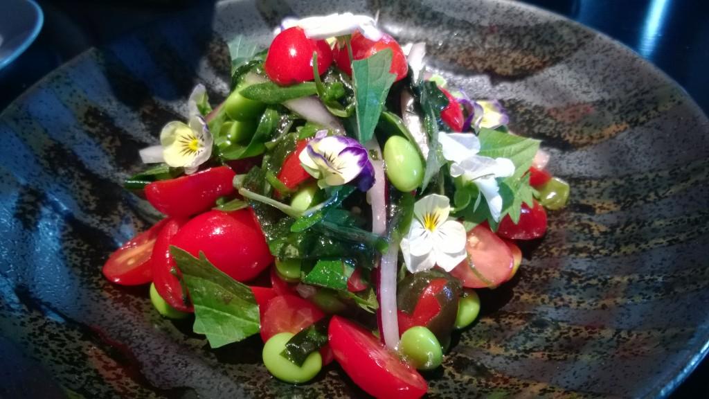 Datterini tomato, edamame & seaweed slad
