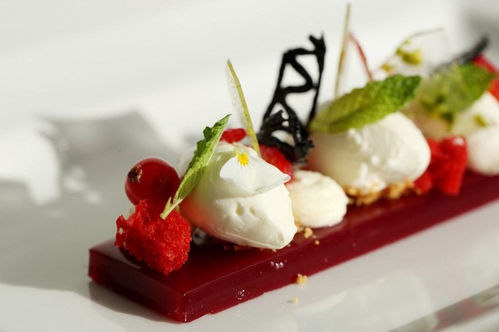 Raspberry terrin with cream cheese ice-cream and pistachio caramel