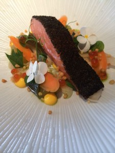 miso sea trout with kombu crust, nukazuke vegetables