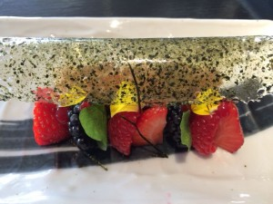nori-infused white chocolate parfait with anori panko nougatine, berries