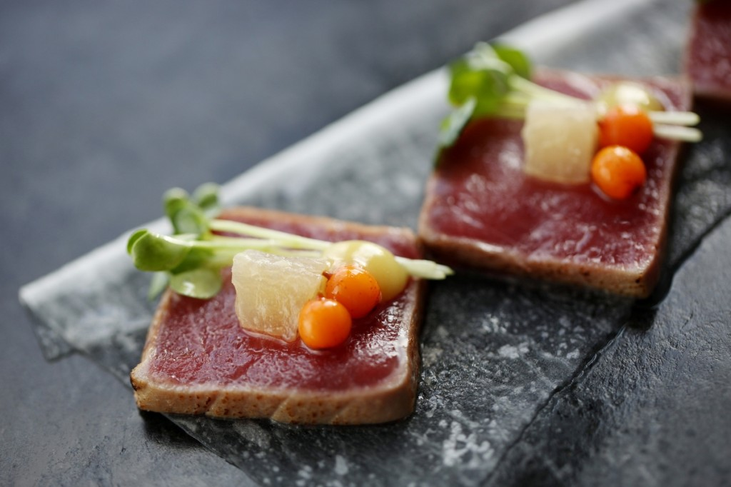 aqua kyoto tuna tataki with braised daikon and sea buckthorn berry