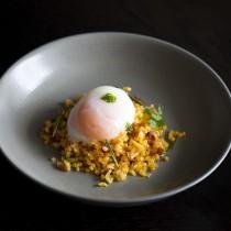 Soft Poached Egg with Chorizo Pancetta Fried potatoes