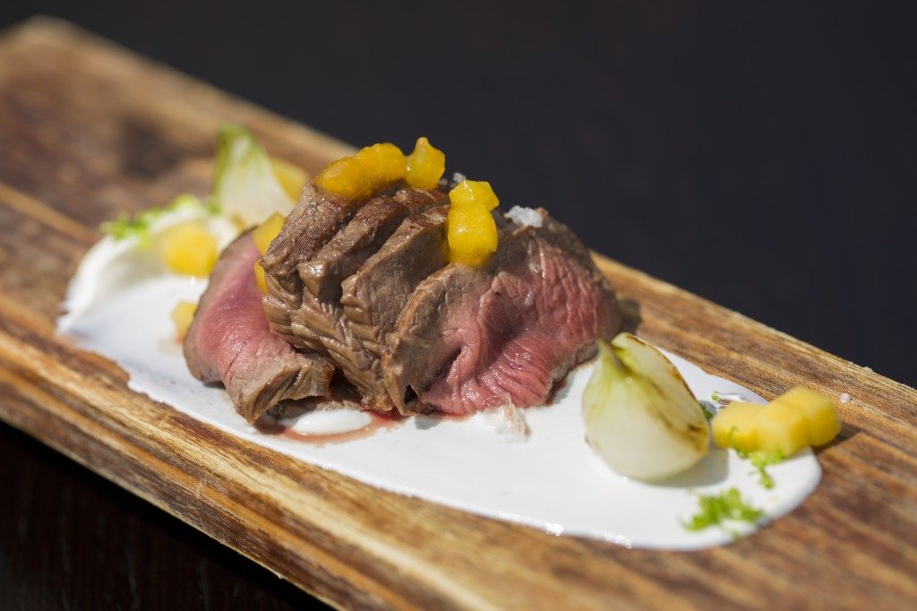 'Beautiful braised lamb loin, served perfectly pink'