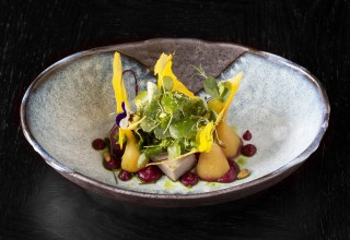 soya baby beetroot salad, miso egg wafers, roast pine nuts